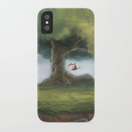 Swinging under a big tree iPhone Case