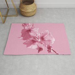 Pink Mallow Flowers Photo to Paint in Pink Rug
