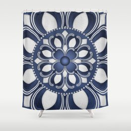 Spanish Flower in Blue Shower Curtain