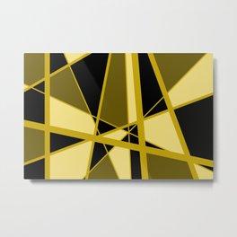 Triangles Mikado pattern yellow gold brown black Metal Print