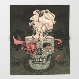 Red Fish and Smokey Skull Throw Blanket