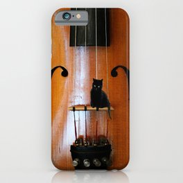 Black Cat And Violin #decor #society6 #buyart iPhone Case
