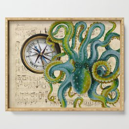 Octopus Compass Green Music Collage Serving Tray