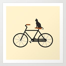 Cat Riding Bike Art Print