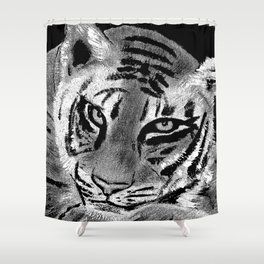 Tiger with White Background Shower Curtain