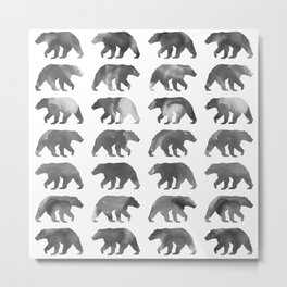 Watercolor Bear - Black & White Metal Print