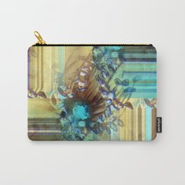 Teal and Brown Lined Abstract Carry-All Pouch
