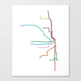 Chicago CTA Map, Chicago Train Map Art, Chicago L Train Map, Chicago Art, Chicago Wall Art, Map Art Canvas Print