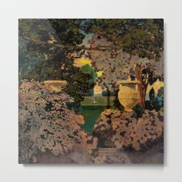 The oaks, the garden of years and other poems floral portrait by Maxfield Parrish Metal Print