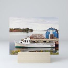 Lobster Boat and Traps Mini Art Print