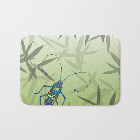 Insect Bamboo leaves Green Unique Pattern Bath Mat