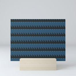 Blue and Black Sawtooth Pattern Mini Art Print