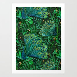 Peacocks in Emerald Forest Art Print