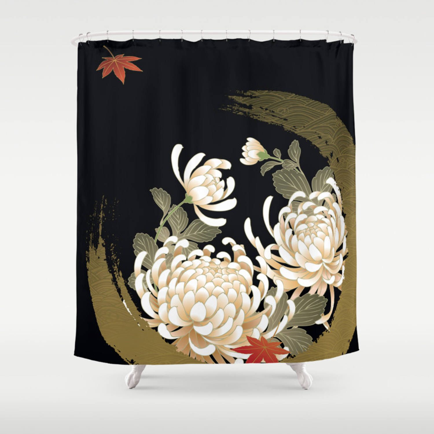 White Peonies Red Maple Leaves Japanese Kimono Pattern Shower Curtain