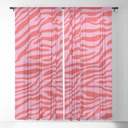 Pink On Red Zebra Animal Print Sheer Curtain