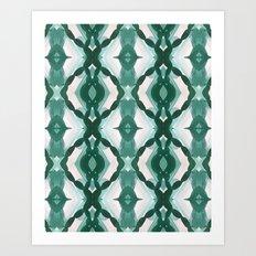 Watercolor Green Tile 1 Art Print
