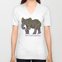 Elephant~  beautiful beast Unisex V-Neck