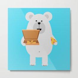 Polar Bear eating Metal Print