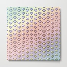 rainbow pixel hearts Metal Print