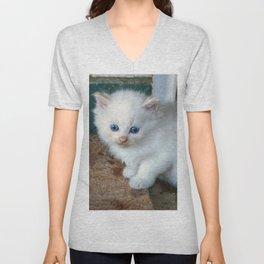 White Kitten Unisex V-Neck