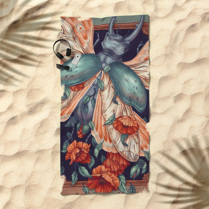 Moth Beetle Beach Towel