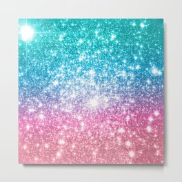 Mermaid Galaxy Sparkle Stars Metal Print
