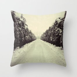 Avenue during a snowing. Throw Pillow
