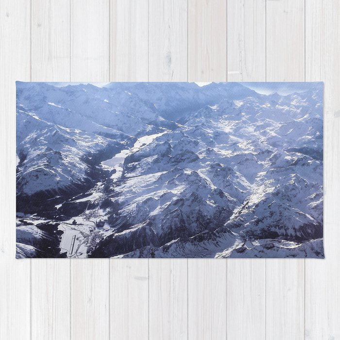White mountains with snow winter nature Rug