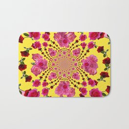 PINK-RED ROSES ON YELLOW-PINK ART Bath Mat