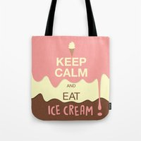 keep calm Tote Bags featuring Keep Calm  by Graphic Tabby