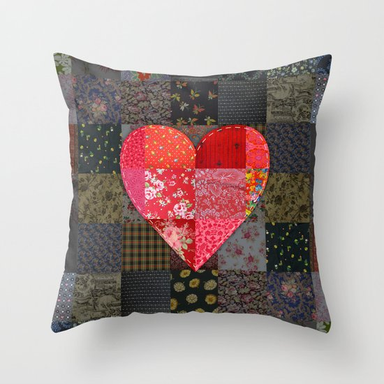 Patched Heart Throw Pillow