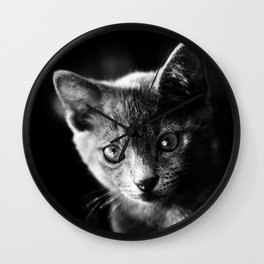 black and white kitten Wall Clock