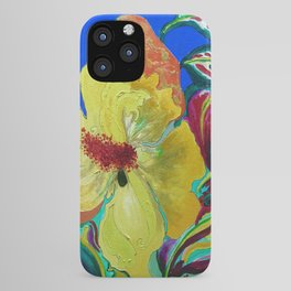 Birthday Acrylic Yellow Orange Hibiscus Flower Painting with Red and Green Leaves iPhone Case