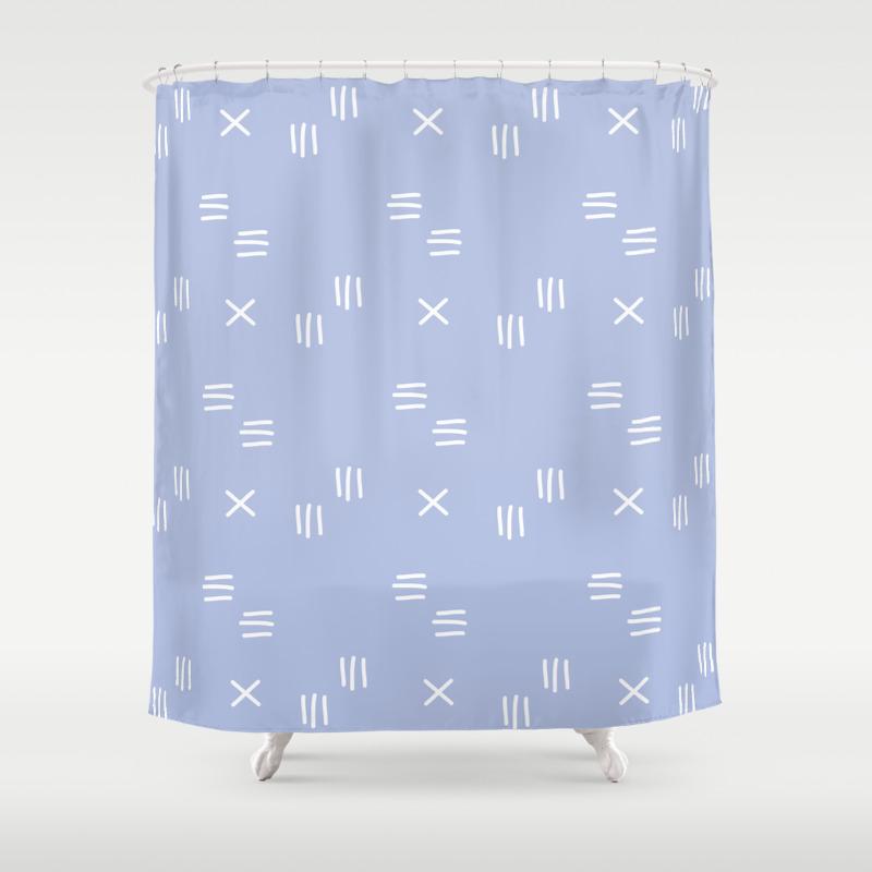 Matchstick Blue Mud Cloth Shower Curtain
