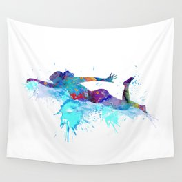 Girl Swimming Colorful Watercolor Sports Art Wall Tapestry