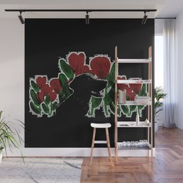 Black Lab In A Flower Garden Wall Mural