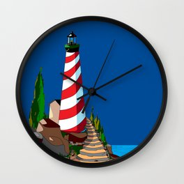 An Eclipse at the Coast with a Lighthouse in Foreground Wall Clock