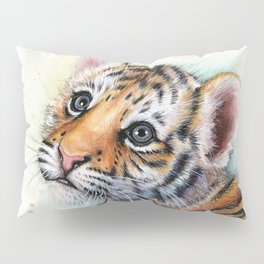 Tiger Cub Watercolor Pillow Sham