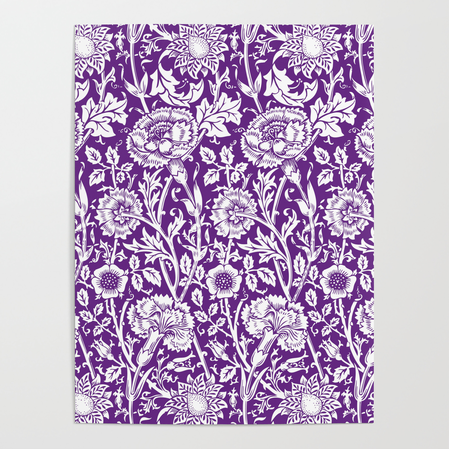 William Morris Floral Pattern Pink And Rose In Purple And