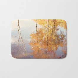 Autumn Trees Reflection Photography, Fall Tree Nature Orange Gold Yellow Purple, Water Reflections Bath Mat