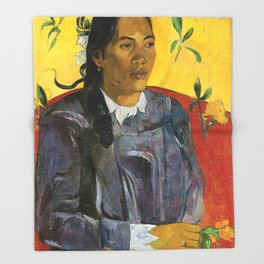 Tahitian Woman with a Flower by Paul Gauguin Throw Blanket