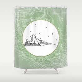 Machu Picchu, Peru, South America - Seven New Wonders Skyline Illustration Drawing Shower Curtain