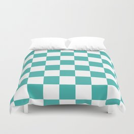 Checkered - White and Verdigris Duvet Cover