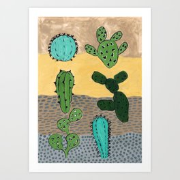 cacti illustration Art Print