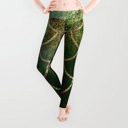 Green & Gold Mermaid Scales Leggings