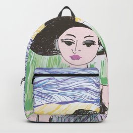 Woman on the beach 5 Backpack