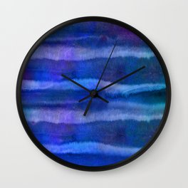 Blue Abstract Watercolor Striped Painting Wall Clock