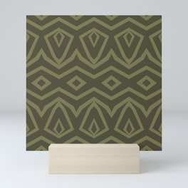 Tribal in Army and Olive Mini Art Print