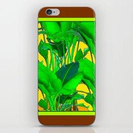 COFFEE BROWN TROPICAL GREEN & GOLD FOLIAGE ART iPhone Skin