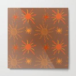 Orange Sun Pattern on Brown Metal Print